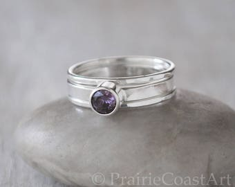 Alexandrite Ring Set in Sterling Silver - Handcrafted Sterling Silver Alexandrite Ring with Two Bands - June Birthstone Ring