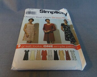 Womens Pullover, Flared, Dress, Size 6, 8, 10, Uncut Pattern, Simplicity 7192, Design Your Own 9 looks