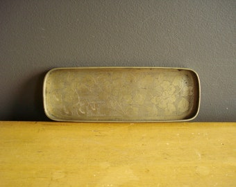 Small Brass Tray - Small Etched Brass Tray - Ornate Brass Tray