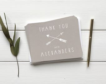 Rustic Weddng Thank You Cards. Hipster Arrow Theme Wedding Thank You Cards. Modern Kraft Paper Cards. Custom Wedding Gift Stationery