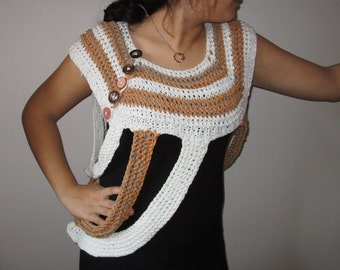 Cream Cross Body Cowl/Ivory Sweater/Crochet Katniss Cowl/Ivory Brown Cashmere  Hand-knitted Shawl/Scarf Cowl/Vest/Sweater/Fall WinterFashion