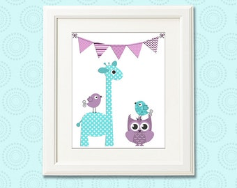 Purple and aqua baby girl Nursery Art Print - 8x10 - Children wall art, giraffe, owl, birds, flag, teal, lilac, lavender - UNFRAMED