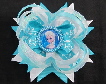 Elsa Hair bow bottle cap image Disney inpired Elsa ~ Frozen