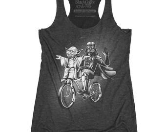 Yoda Shirt - Womens Star Wars Shirt -Darth Vader and Yoda Riding a Bike Hand Screen printed on a Womens TANK TOP - Star Wars Shirt - Yoda