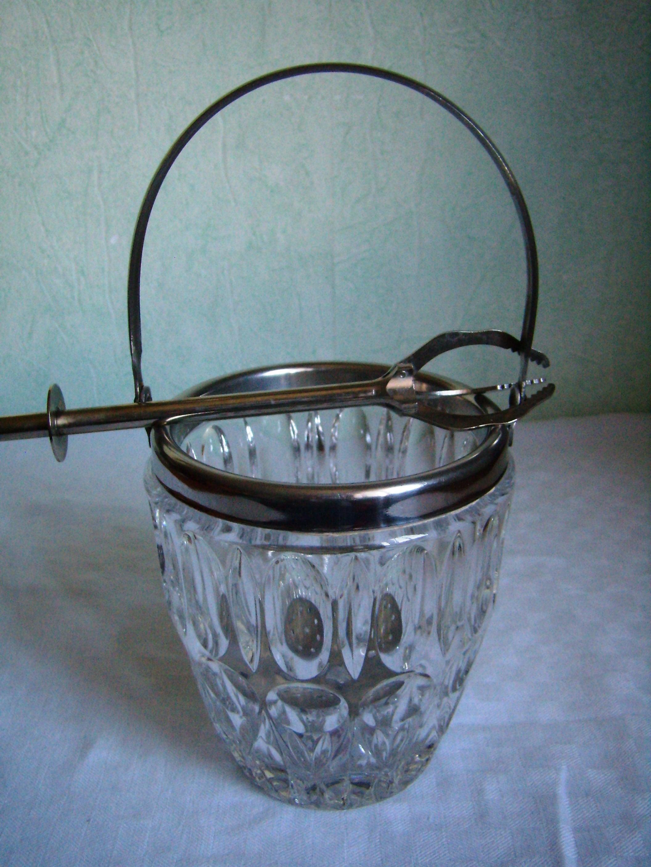 seau a glace vintage cristal avec sa pince ann es 70 art de. Black Bedroom Furniture Sets. Home Design Ideas