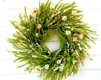 Wedding Decor-Weddings-PEACH Wreath-WildFlower Wreath-Spring Door Wreath-Farmhouse Wreath-Summer Wedding Decor-Mothers Day Gift-Housewarming