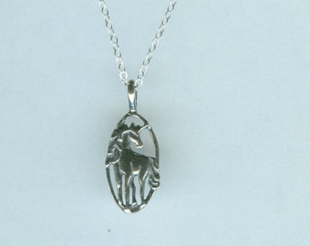 Sterling UNICORN Pendant and Chain - Necklace