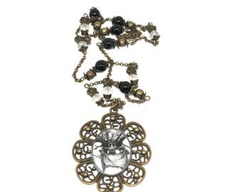 Hand-made jewelry, Theme romance vintage, black agate gemstone