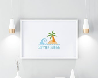Summer,  print, PRINTABLE, illustration, download DIGITAL, wall art, home decor, beach print, inspirational, prints, quotes, simple, instant