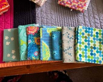 6.5 Fat Quarter Bundle - Greens and Blues - Freespirit - Cotton & Steel