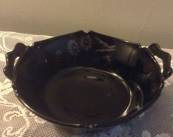 Double handled ebony black glass vegetable bowl
