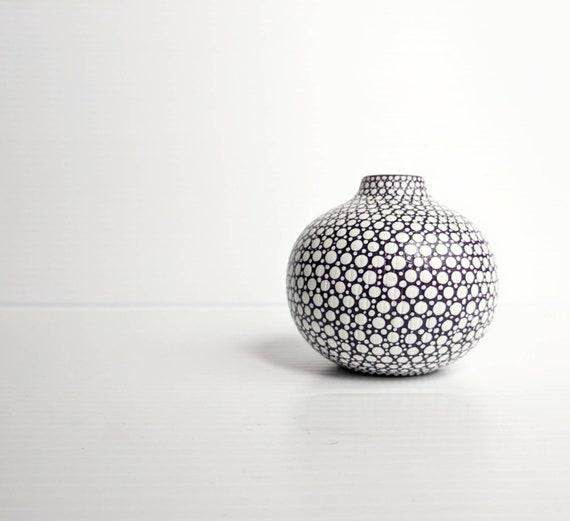 Bud vase hand painted ceramic bud vase plum purple with white dots