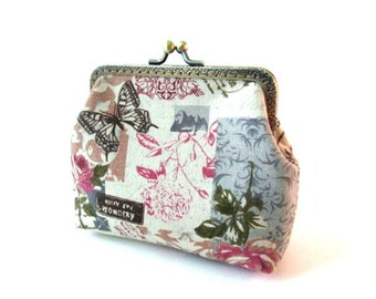 Fabric frame purse, butterfly makeup bag, pink blue frame clutch, colorful fabric frame pouch, kiss lock clasp bag, bronze coin purse frame