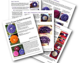 Dahlia Flower Quilted Ornament Instructions