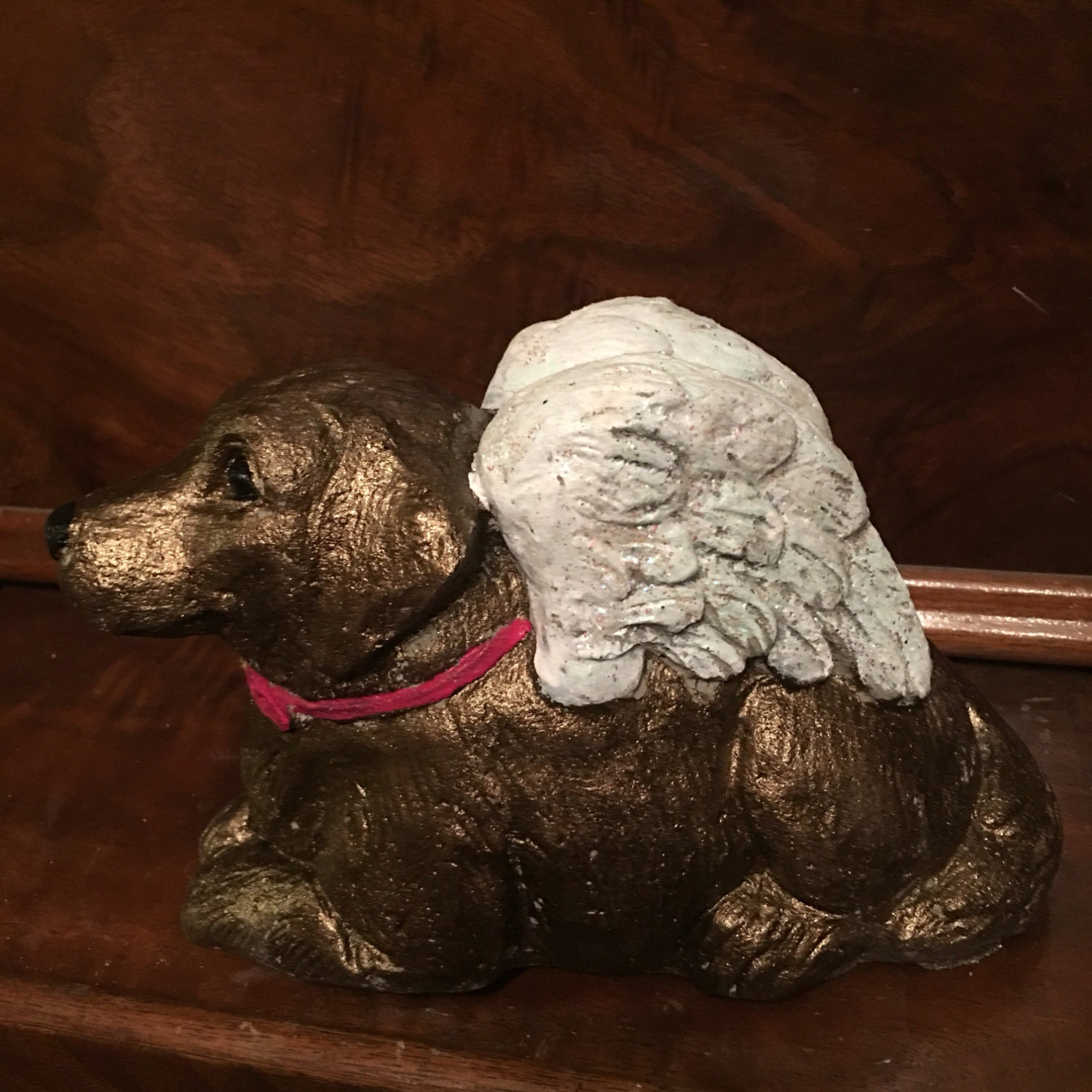8 Inch Hand Painted Concrete Angel Dog Statue Dog Memorial