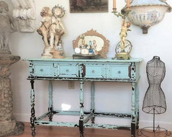 French Console~ROBIN EGG Blue~Vintage~Chippy~Shabby Chic Architectural~table ~desk~bathroom~boudoir