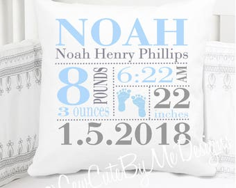 Boys Birth Announcement Pillow - Footprints - Blue Grey - Nursery Pillow - New Baby Gift - Personalized