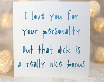Bonus Dick , funny birthday, Card for him, husband boyfriend birthday, snarky card, sarcastic card,no gift card, snarky birthday card