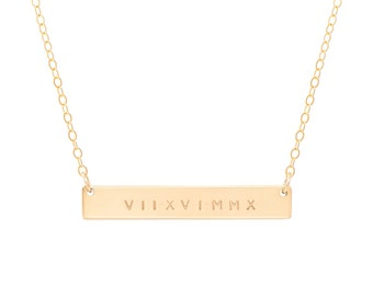 Roman Numeral Necklace / Nameplate Necklace / Personalized Bar / Layering / Gold Name Bar