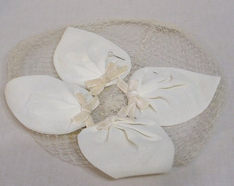 Vintage Whimsey Fascinator Hat Four White Heart Shaped Fabric Pieces and Wht Velvet Bows on Netting / 1950s Half Hat