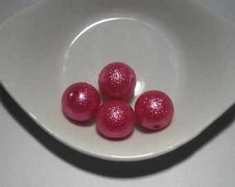 set of 4 beads pink fushia