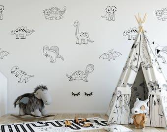 Dinosaur Wall Decal Set / Baby Shower Gift / Wall Decor for Nursery / Boy's Bedroom / Girl's Bedroom / Birthday Gift / Dinosaur Stickers