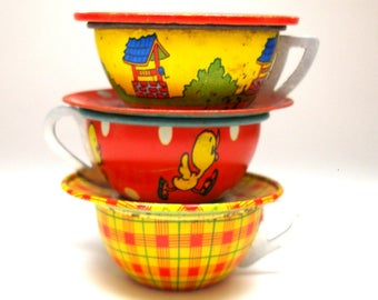 50s Tin Toy Tea Cups & Saucers, Set of 6 with Scottie dog, baby duck, wishing well.