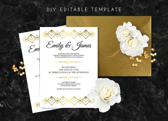 Editable wedding invitation template Great gatsby wedding