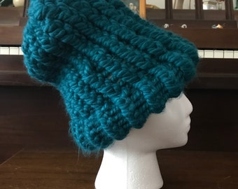 Chunky Teal Knit Hat