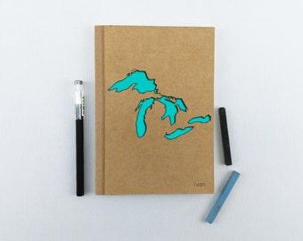 GREAT LAKES Notebook, Travel Notebook, Customiz Journal, Travel, Personalized Notebook, Personalized Journal, Custom Notebook, Custom Diary