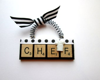 Chef Cooking Scrabble Tile Ornament