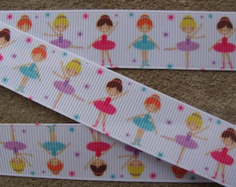 "3 yards Ballet print ribbon Dancing Girls ribbon 7/8"" Ballerina Girls Grosgrain Ribbon Perfect for Bows Clips Scrap booking Sewing"