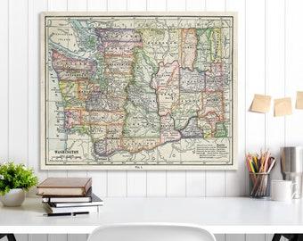 Washington State Map, Washington Map Canvas, Antiqued Washington Map, Canvas Wall Decor, Washington Wall Decor, Map of Washington Canvas
