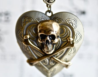 Love Affair Necklace - Skull Crossbones Heart Bronze Brass Locket - Insurance Included