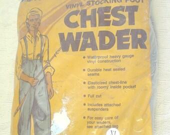 NIP NOS Dead Stock Sportsmans Choice Vinyl Stocking Foot Chest Wader Waders Waterproof Heavy Gauge Vinyl Construction Full Cut Suspenders XL