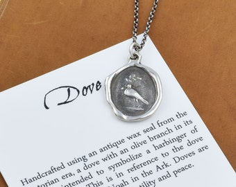 Dove Necklace - Dove jewelry - Peace dove wax seal necklace featuring a bird and an olive branch - 308