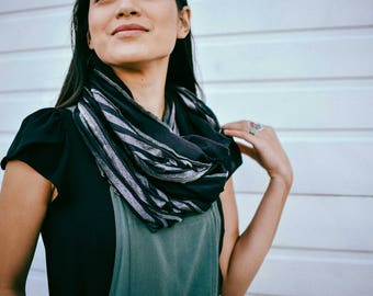 Scarf For Women, Scarves For Her, Infinity Scarfs, Black and Charcoal Cotton Scarf, Gift For Her