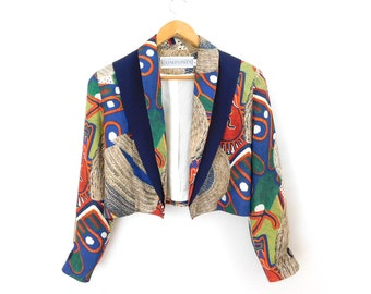 Sz 12 80s Cropped Abstract Print Blazer - Designer Vintage Women's Bright Colorful Componix Rayon Tuxedo Cut Open Front Jacket - Size Large