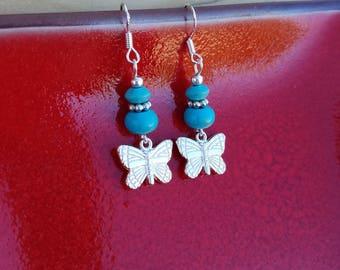 Turquoise Butterfly Earrings, Silver Butterfly and Turquoise Sterling Silver Earrings, Butterfly Earrings, Blue Silver Butterfly Earrings