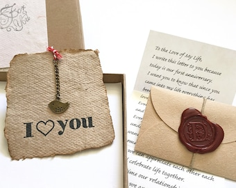 Romantic gift for girlfriend, Personalized Vintage style gift for her, Customized birthday gift for wife, Love letter, Handmade paper card