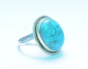 TURQUOISE RING, Turquoise Silver ring, Sterling silver ring, Gemstone Ring, Turquoise Stone  Silver Ring, 925 sterling silver   46
