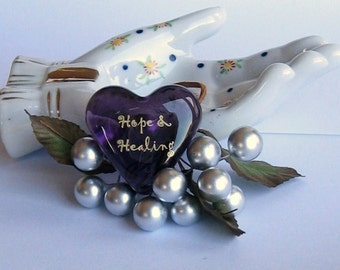 """Love Note for Wellness Purple Glass Heart of Hope and Healing Get Well Encouragement 1.5x1.5x.5"""" 1.6oz"""