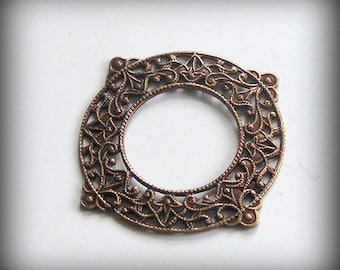 LuxeOrnaments Oxidized Brass Open Circle Frame (Qty 1) B671X-VJS S-9092