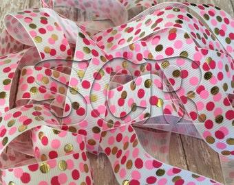 Printed Grosgrain Ribbon, Pink Gold Dotted Ribbon, DIY Crafting Supply, Hair Bow Holders, 7/8 Ribbon by the Yard, Valentines Ribbon