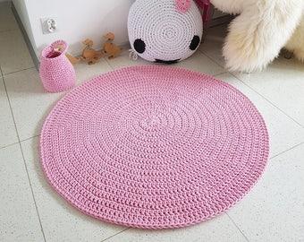 Sweet light pink round rug, Round area rug Nursery Rugs Skandinavische Teppich rund alfombra trapillo modern enfant Large Crochet floor Rug