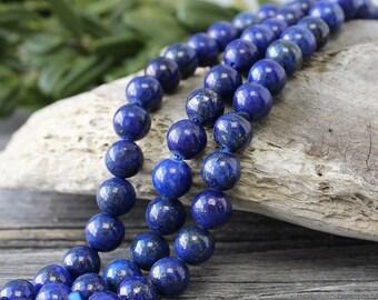 Lapis Lazuli Beads, 1 Strand 8 mm Lapis Gemstone Beads, Blue Beads, Round Beads, Lapis Beads, Natural Lapis Beads