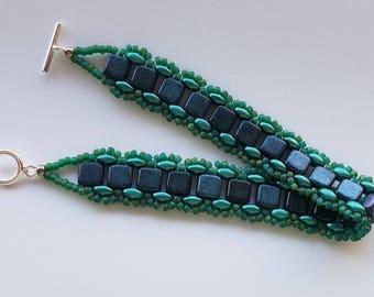 Teal Beaded Bracelet – Handmade – Beadwoven Bracelet - Beaded Bracelets for Women