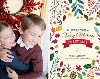 Very Merry Botanical Printable 5x7 Christmas Card with Photos