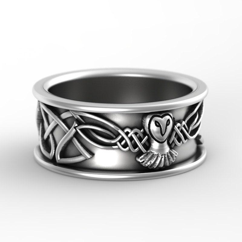 Sterling Silver Owl Wedding Ring Owl Wedding Band Celtic Wedding