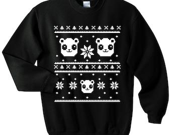 Ugly Christmas Sweater - Panda Sweatshirt - Unisex Sizes S, M, L, XL